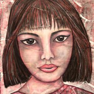 Blossom, mixed media portrait by Jacky KrielaArt